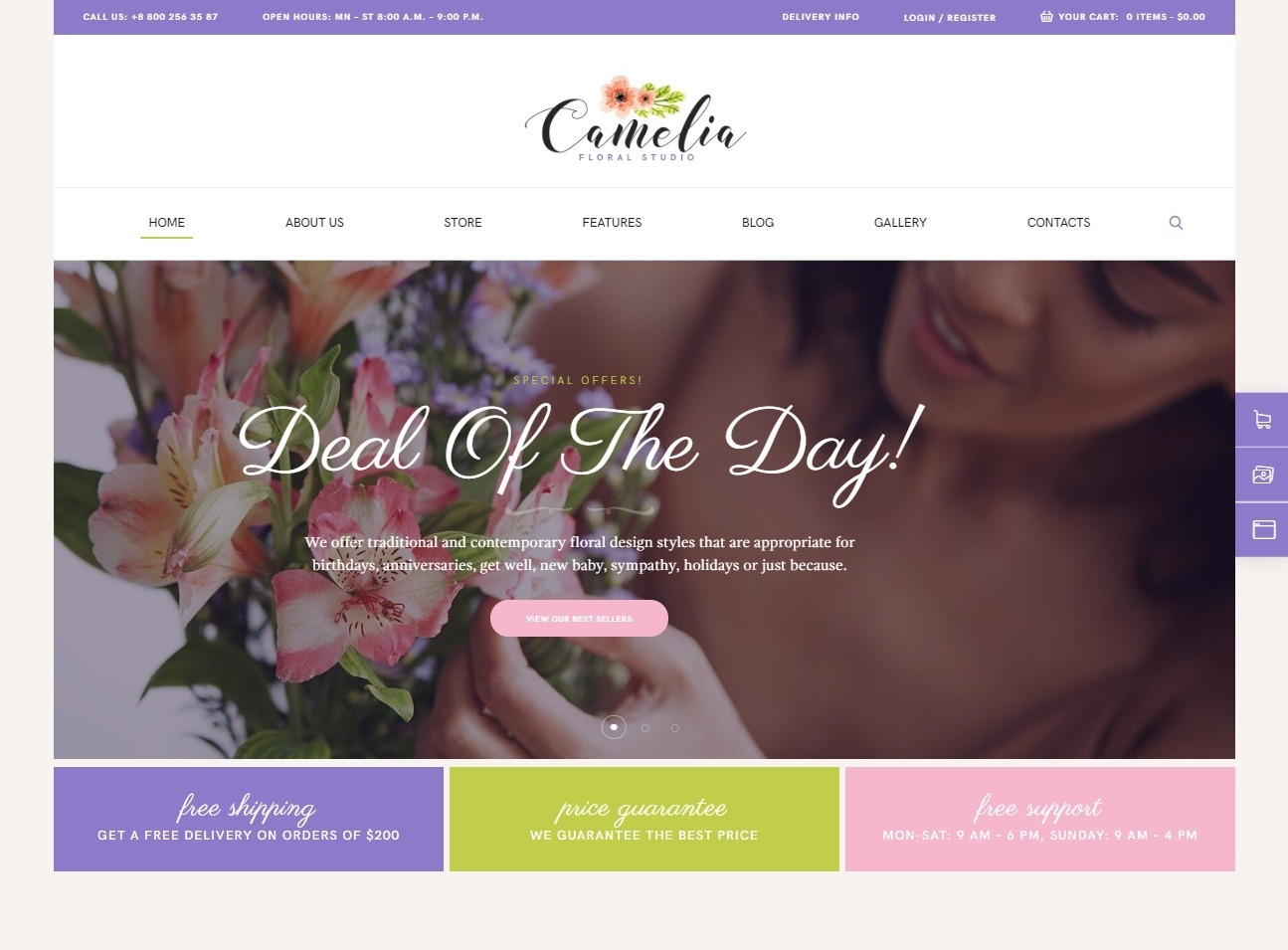 Camelia WordPress Theme for Flower Shop and Floral Arrangements