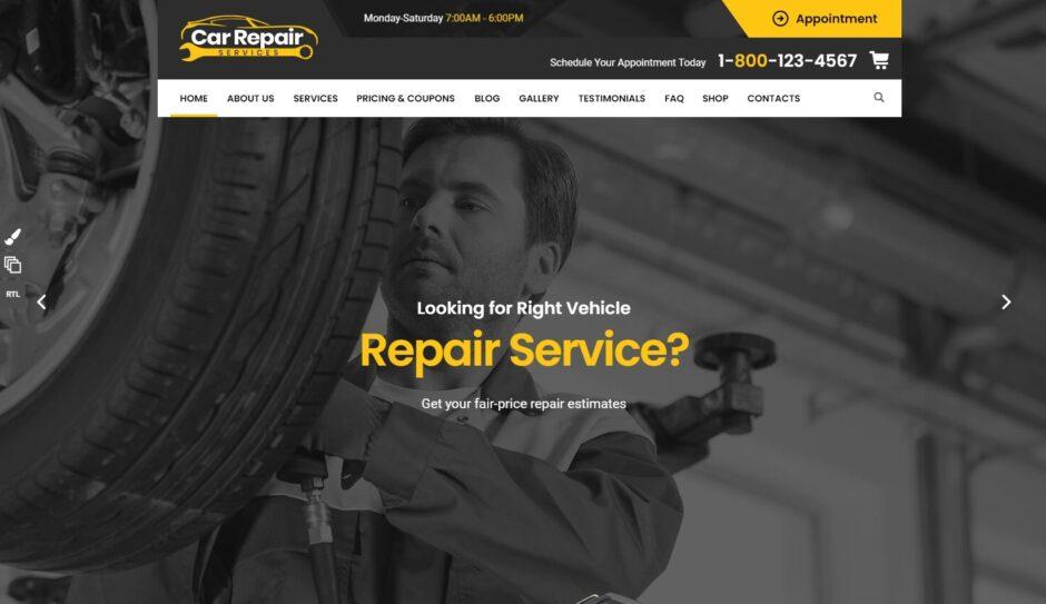Car Repair Services Auto Mechanic and Parts Shop Theme