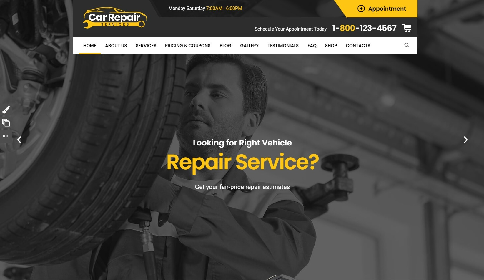 Car Repair Services Auto Mechanic and Parts Shop Theme