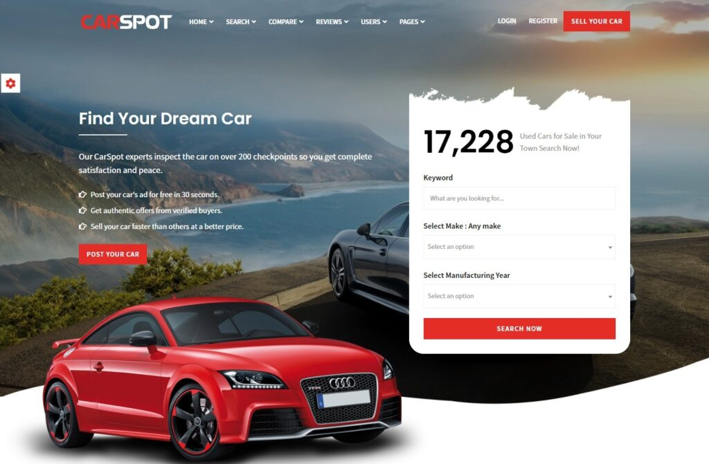 CarSpot Auto Dealership Website with Advanced Search