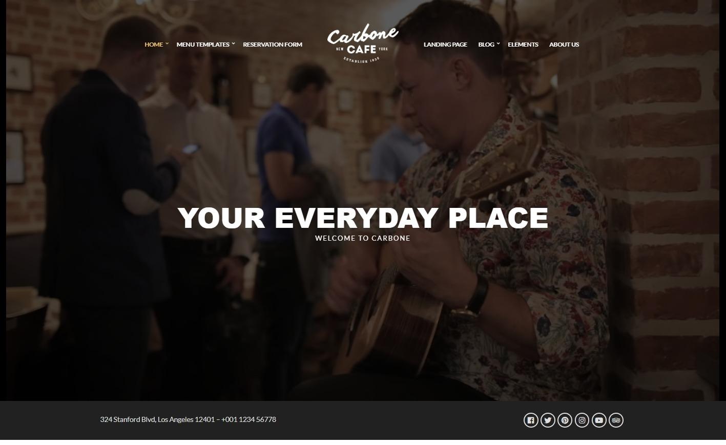 Carbone Cafe Multi Dimensional Restaurant WordPress Theme