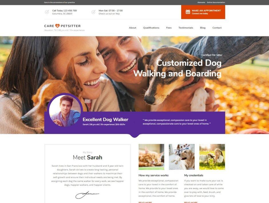 Care Pet Sitting and Dog Walking WordPress Theme