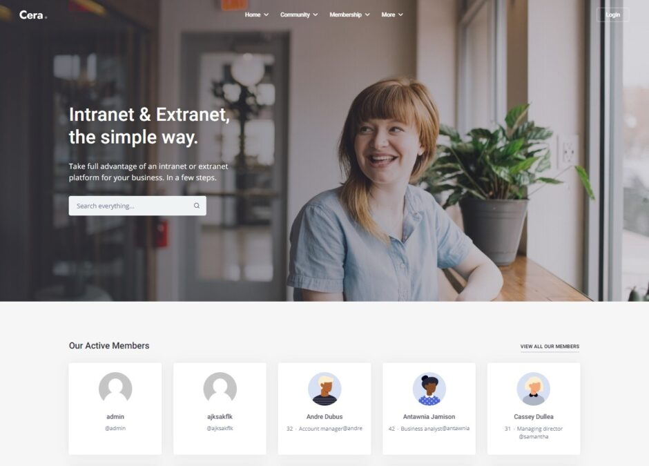 Cera User Friendly Intranet and Extranet WordPress Theme