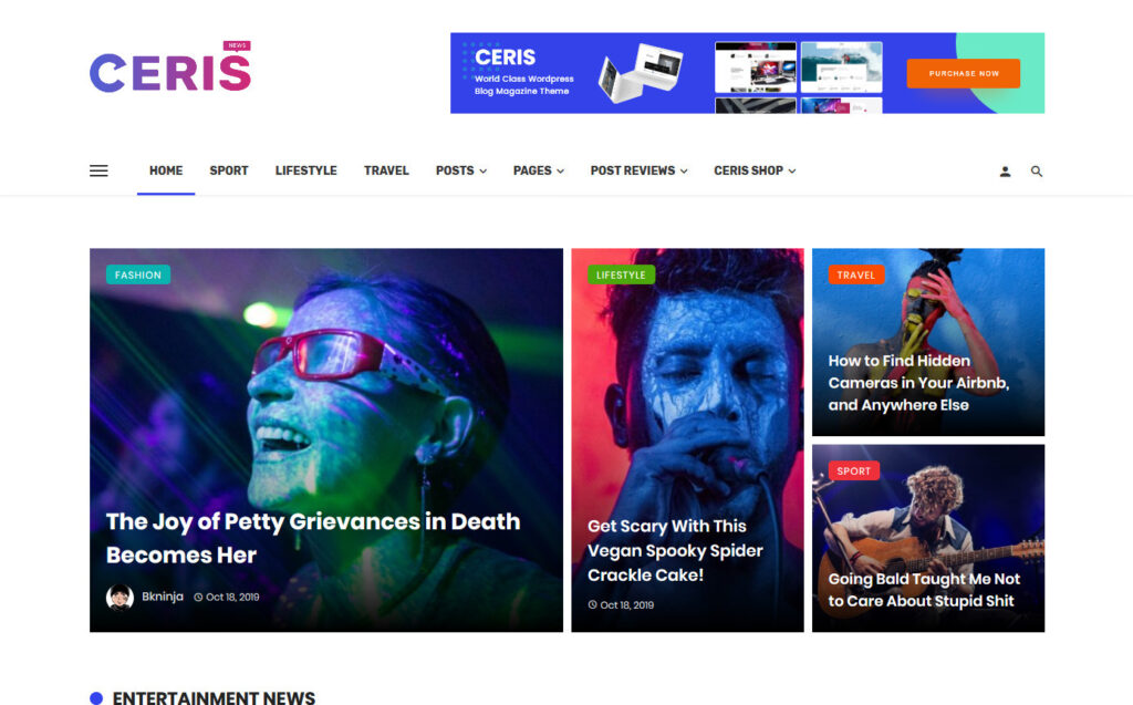Ceris Magazine Blog WordPress Theme
