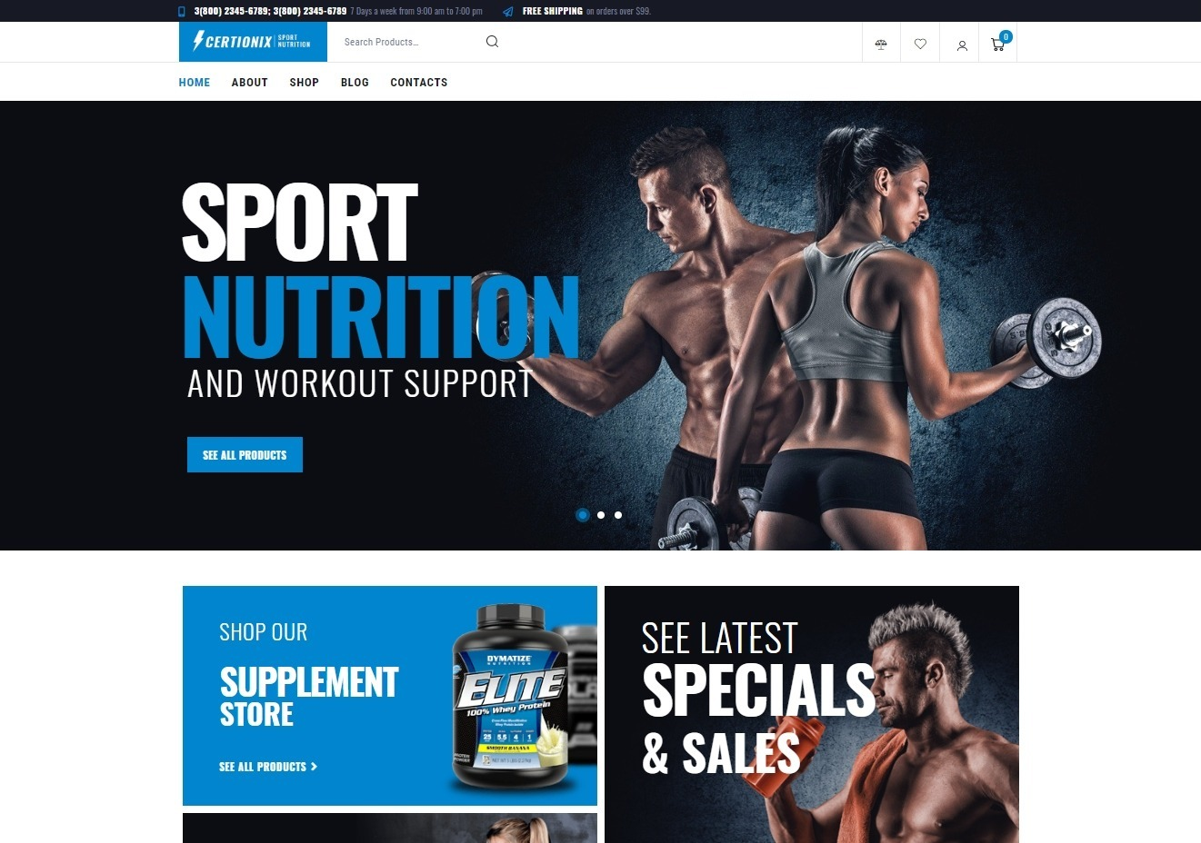 Certonix Sports Supplement and Nutrition Theme
