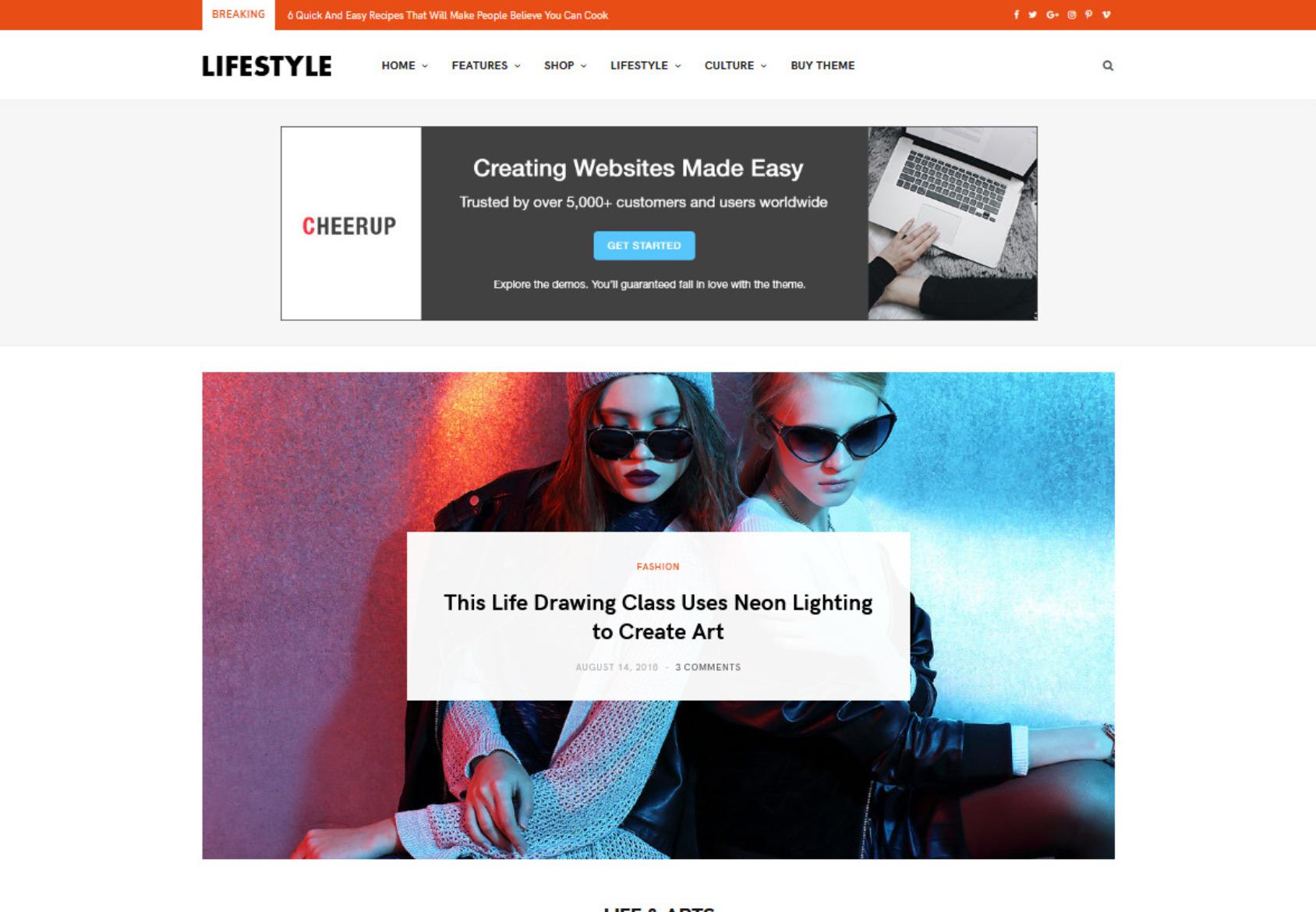 CheerUp Magazine Theme with Adsense Optimization