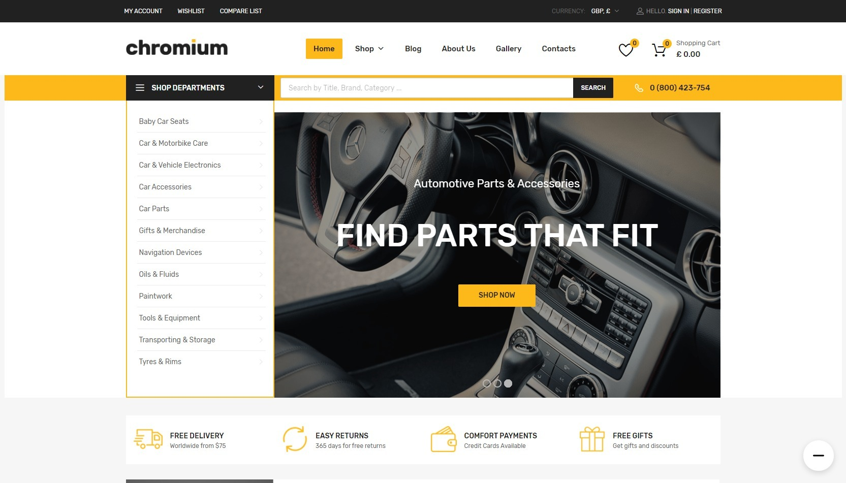 Chromium Auto Parts Marketplace WordPress Theme