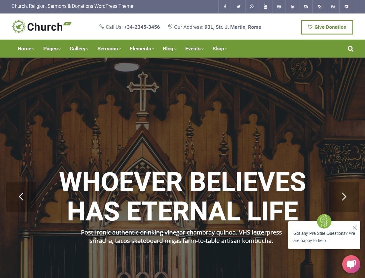 ChurchWP Church Religion Sermons Donations WordPress Theme