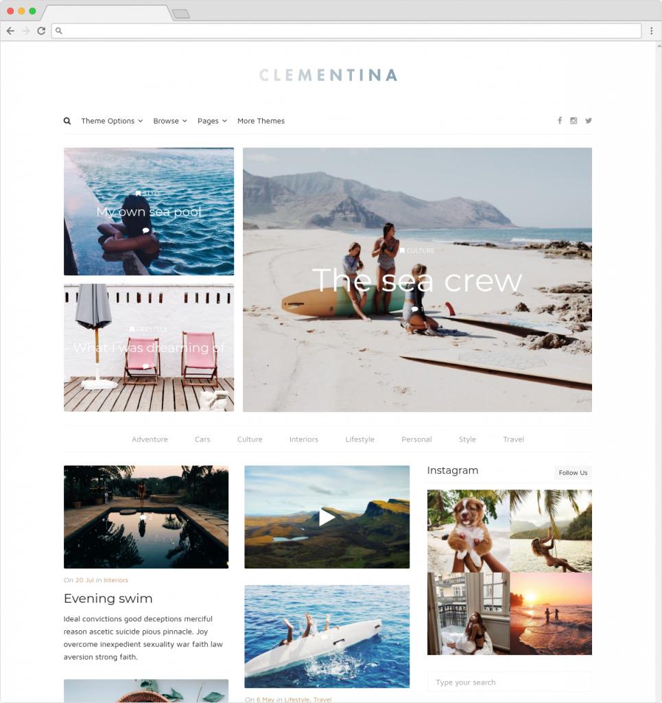Clementina Clean Minimal Lifestyle Blog Theme