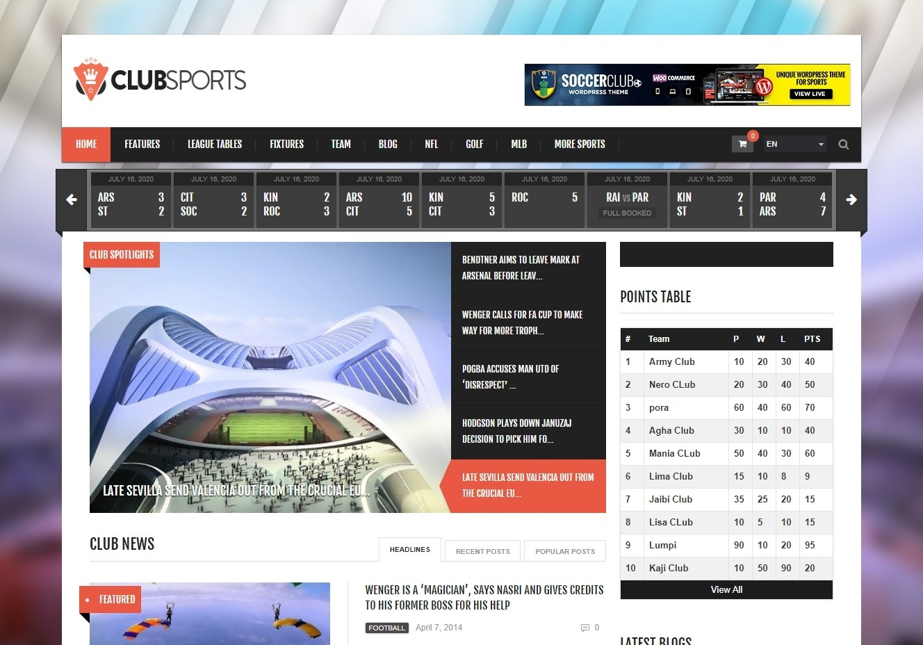 Club Sports WordPress Theme for Sports Magazine and News