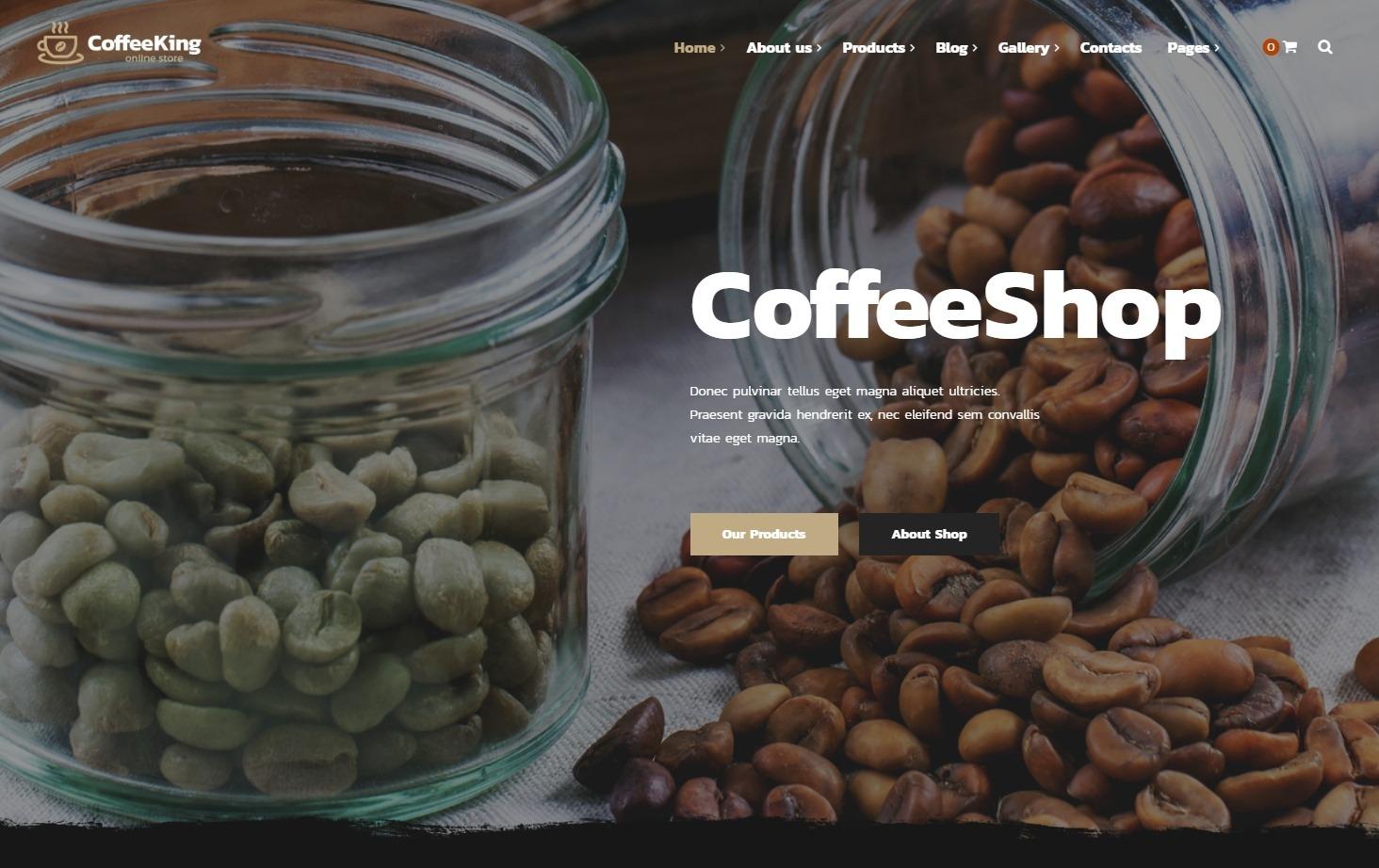 Coffee King Premium Animated Coffee Shop Theme