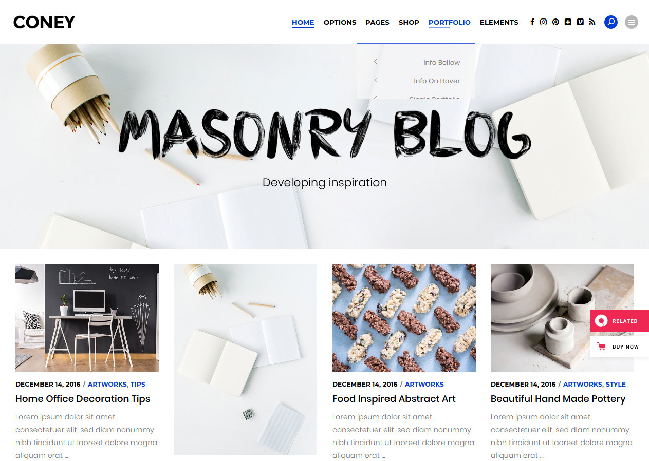 Coney Pinterest Style Masonry Grid Home Page