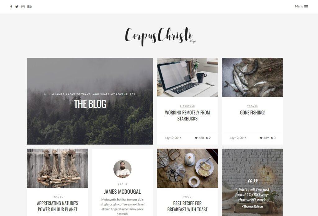 CorpusChristi Modern Masonry Grid WordPress Theme