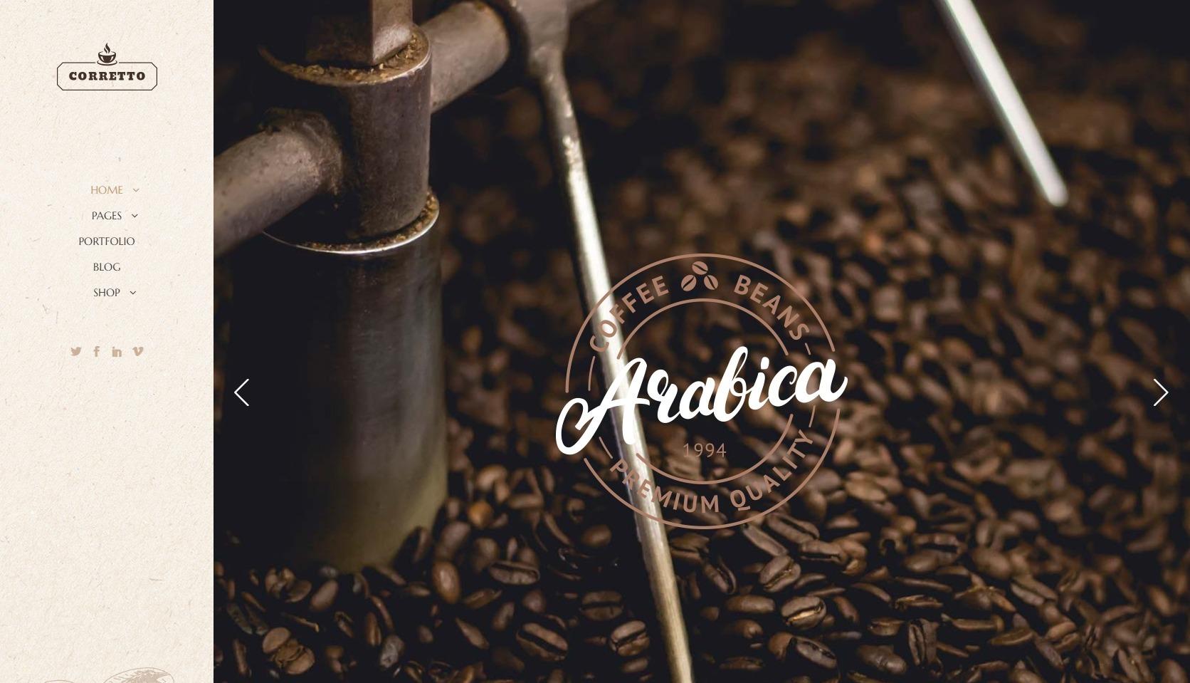 Corretto Coffee Shop WordPress Theme