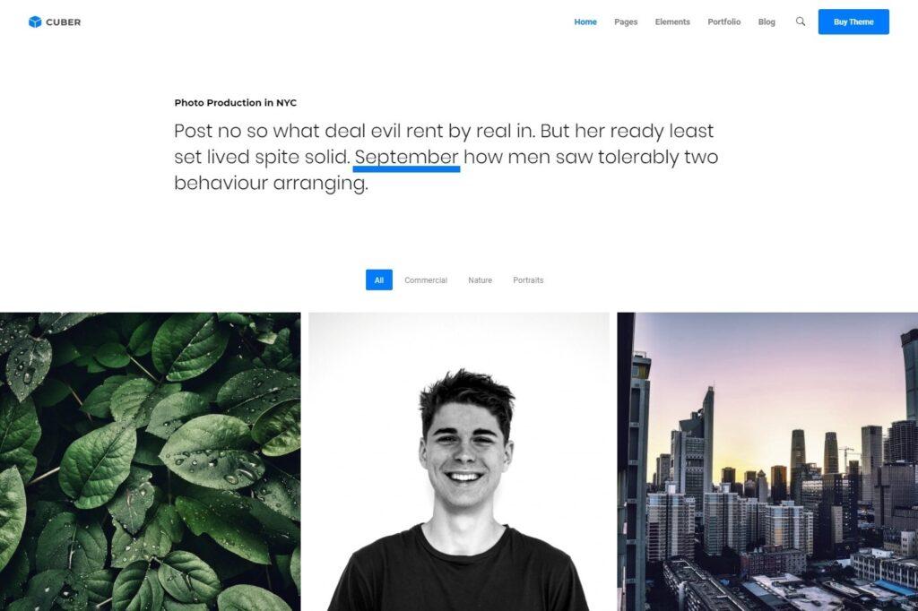 Cuber Minimalist Photography WordPress Theme