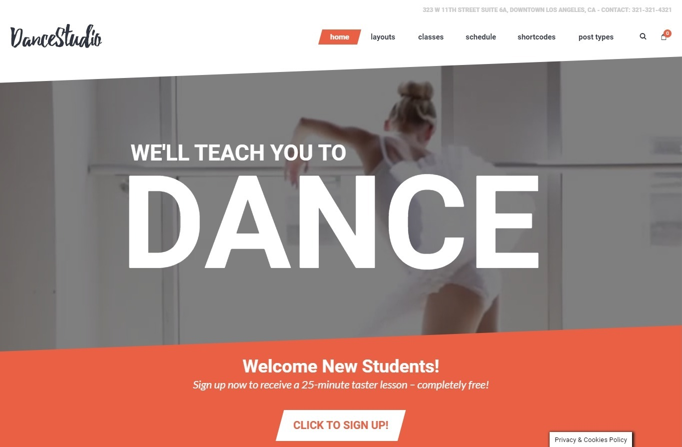 DanceStudio WordPress Theme for Dancing Studios and Instruction