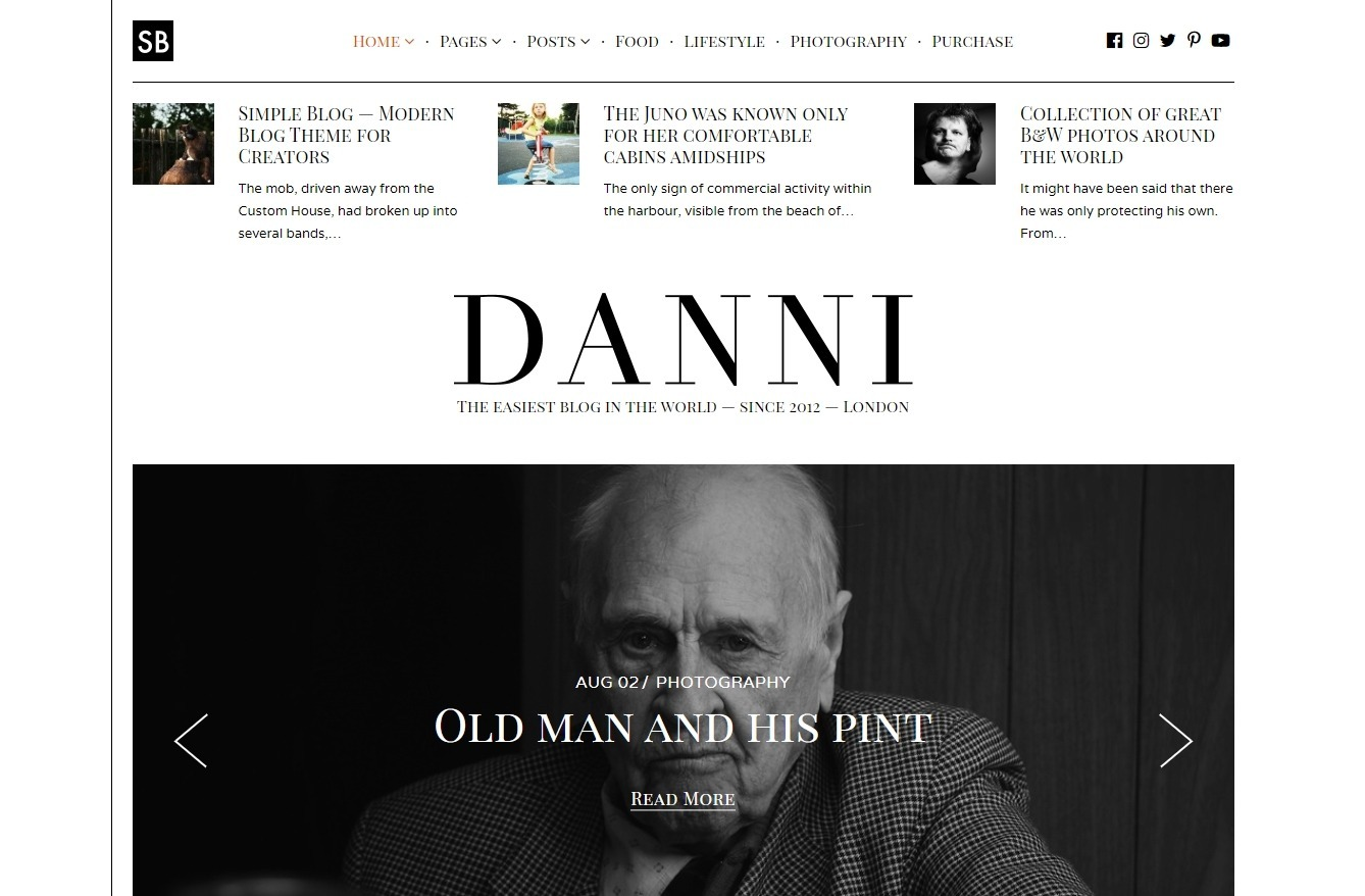 Danni Minimalist WordPress Blog Theme