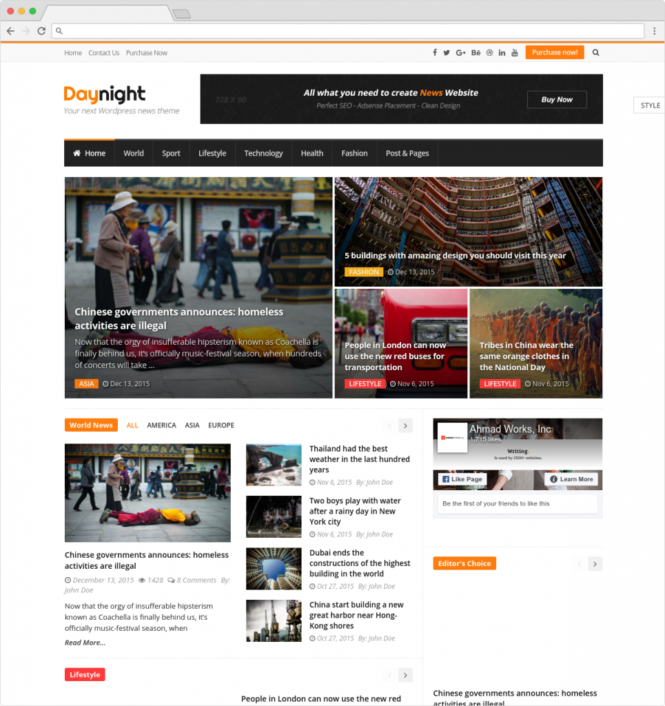 Daynight WordPress News And Magazine Theme