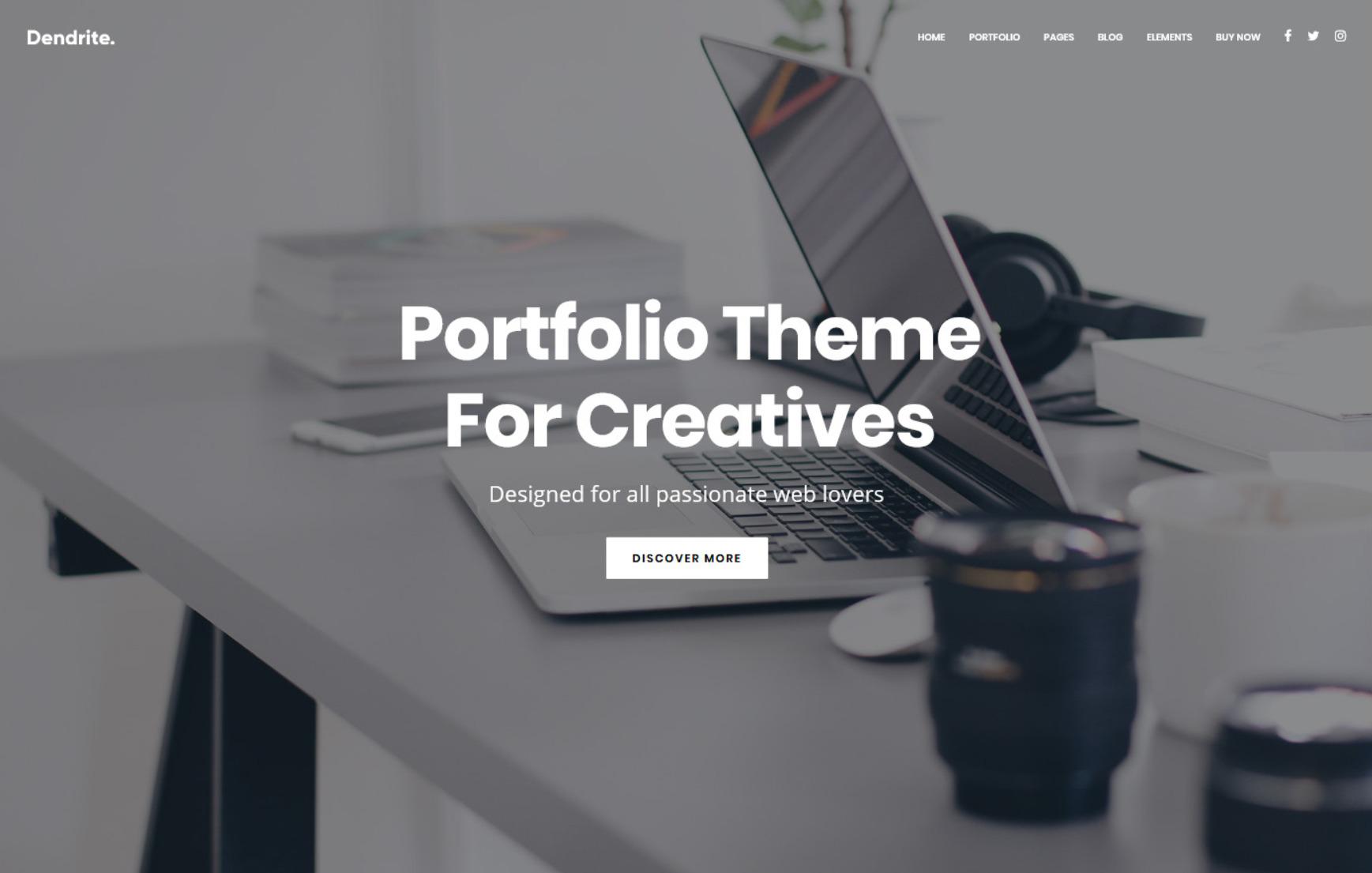 Dendrite Clean Crisp One Page Portfolio Theme