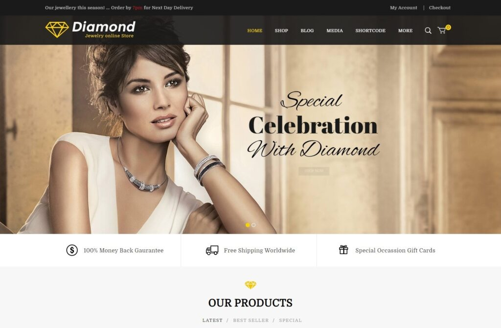Diamond Jewelry Store WordPress Theme