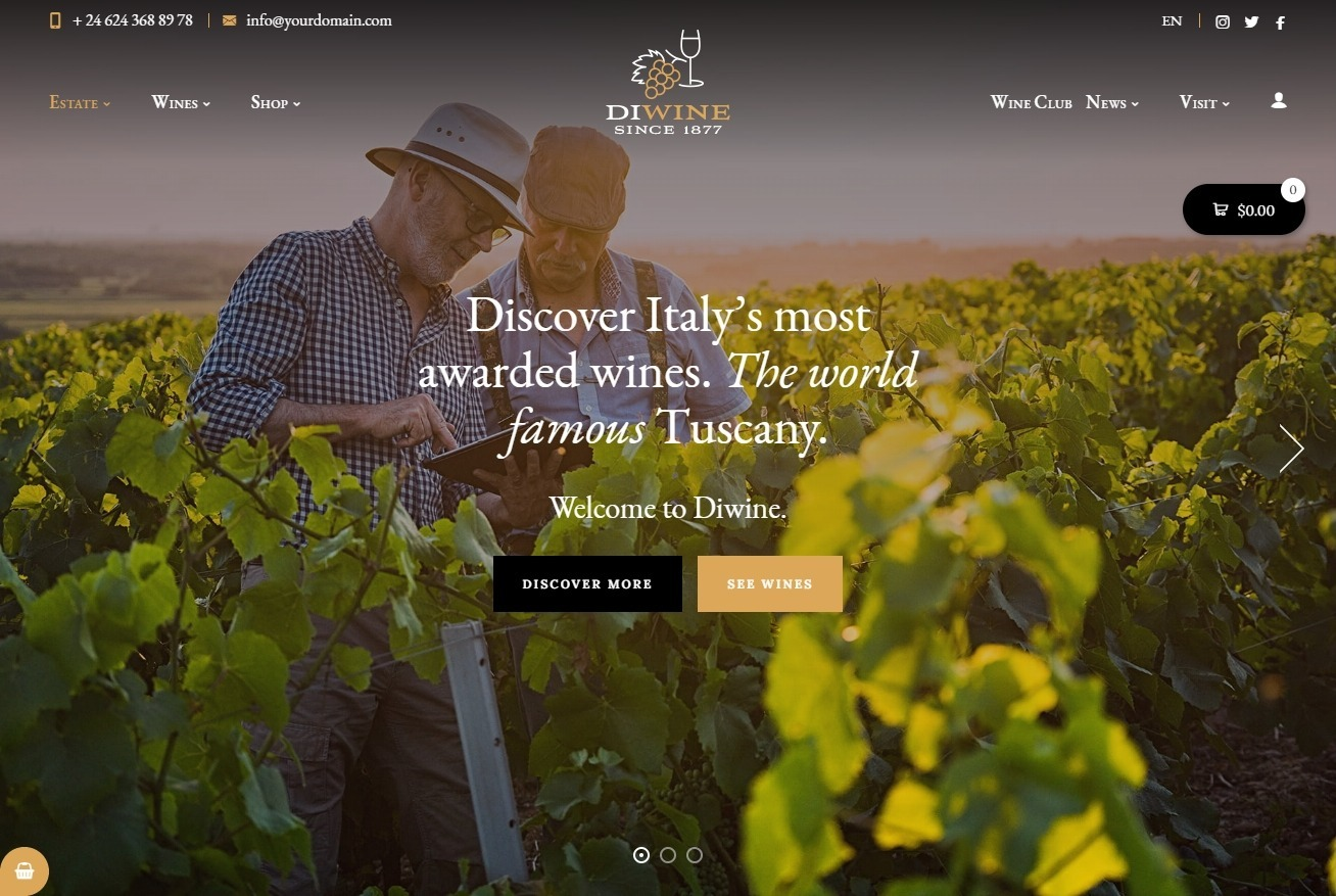 Diwine WordPress Theme for Wine Makers and Sellers