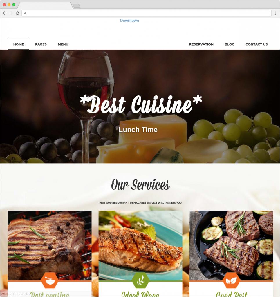Downtown WordPress Restaurant And Food Blog Theme