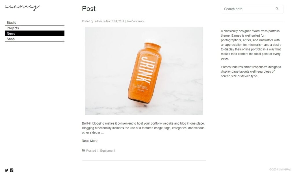 Eames Minimal Personal Blog Theme
