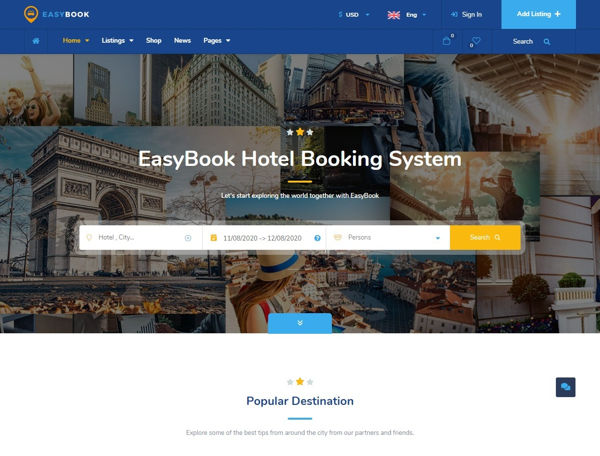 EasyBook WordPress Theme for Listings and Directory Websites