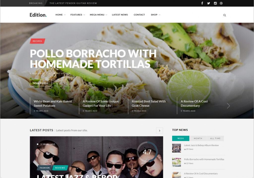 Edition WordPress Responsive Personal Blog Theme