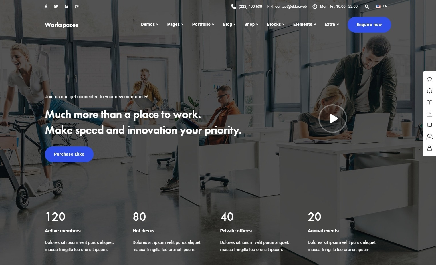 Ekko Workspace Co Working Office Rental WP Theme