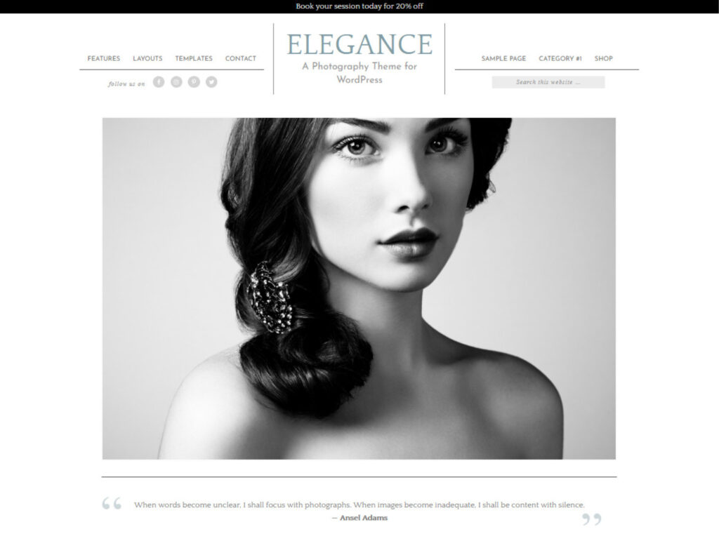 Elegance Pro Modern WordPress Photo Portfolio and Blog