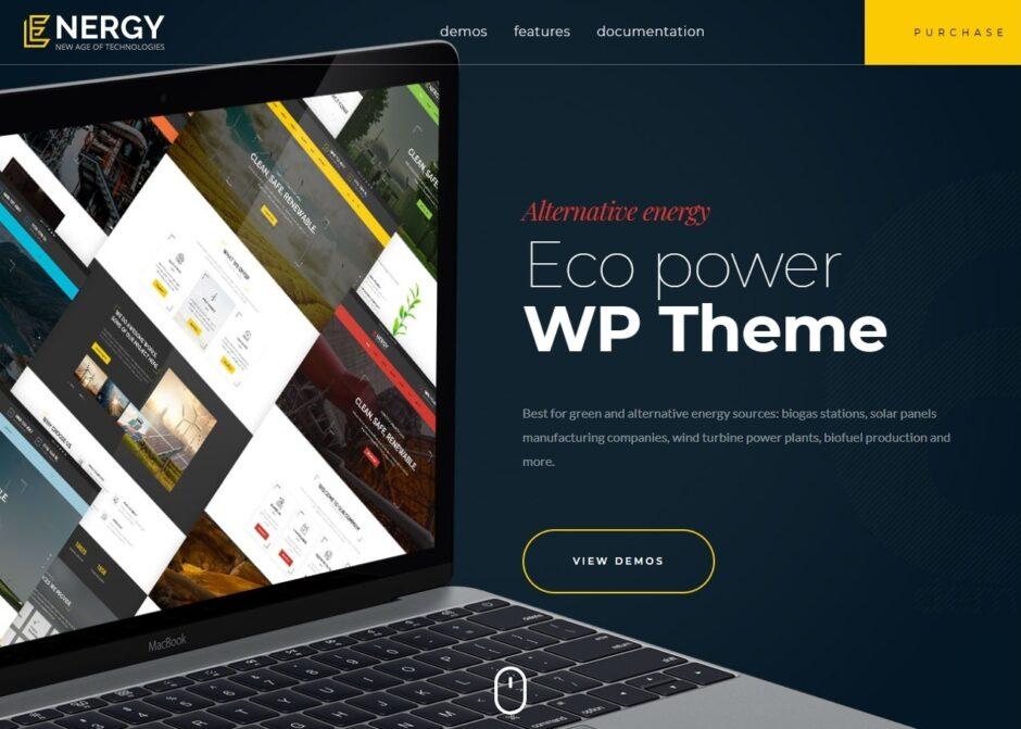 Energy Solar Wind and Alternative Power WordPress Theme