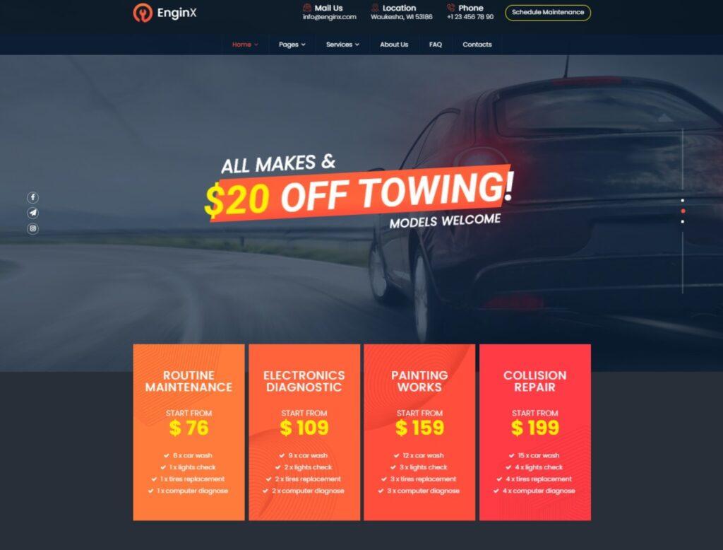 EnginX Repair Towing Tuning WordPress Theme