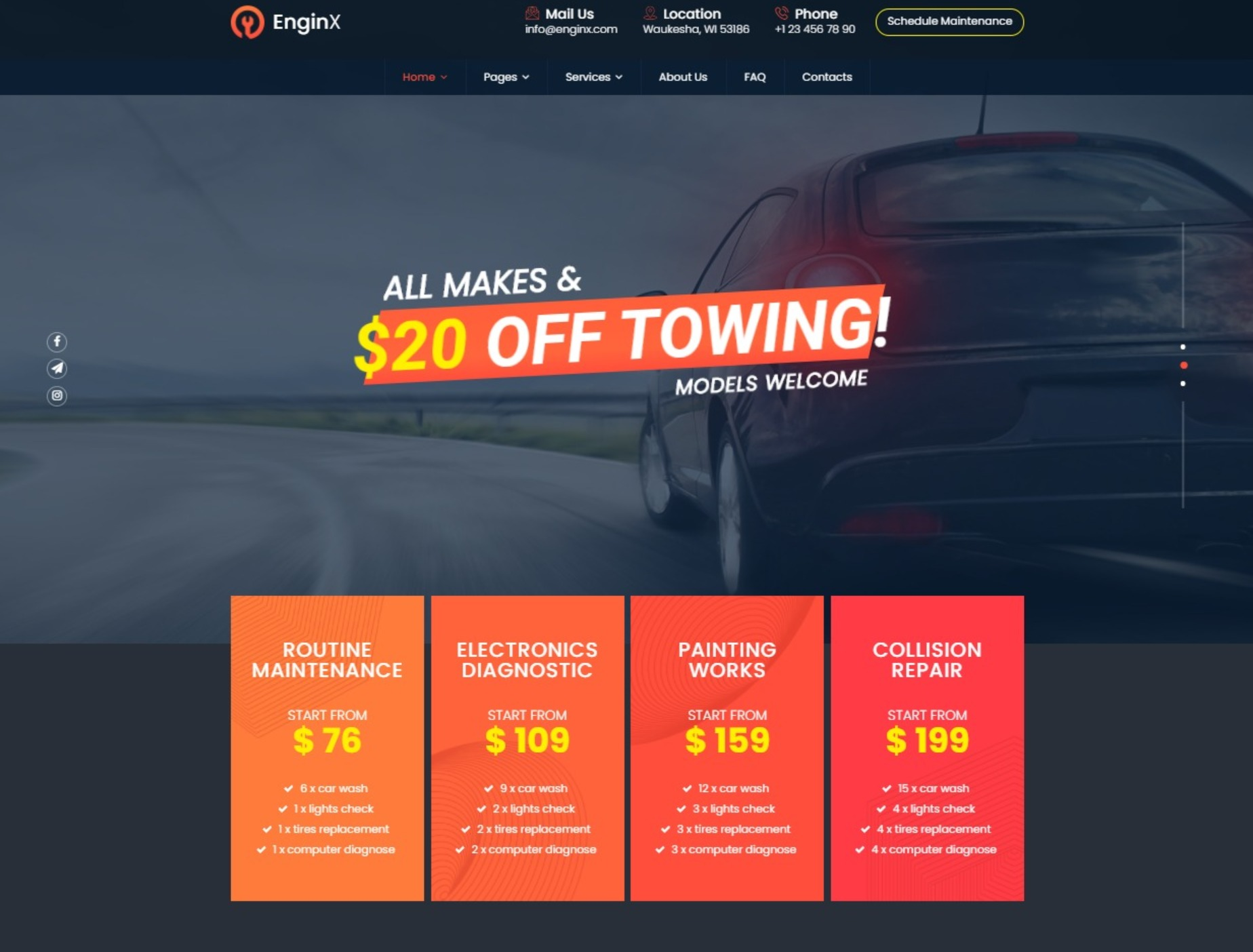 EnginX Repair Towing Tuning WordPress Theme