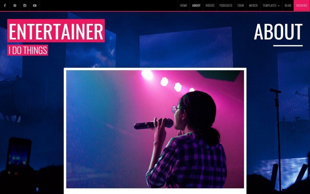 Entertainer WordPress Theme for Personal Portfolios