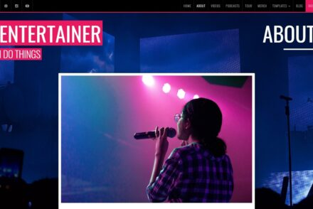 Entertainer WordPress Theme for Personal Portfolios