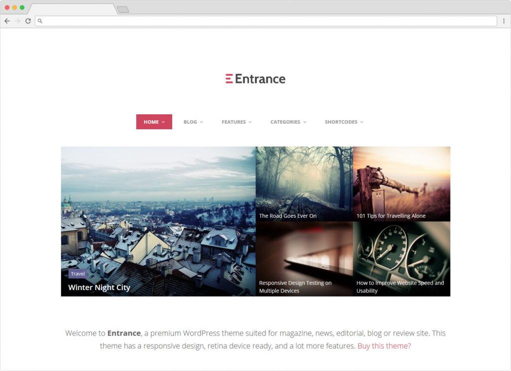 Entrance WordPress Theme For Magazine Reviews
