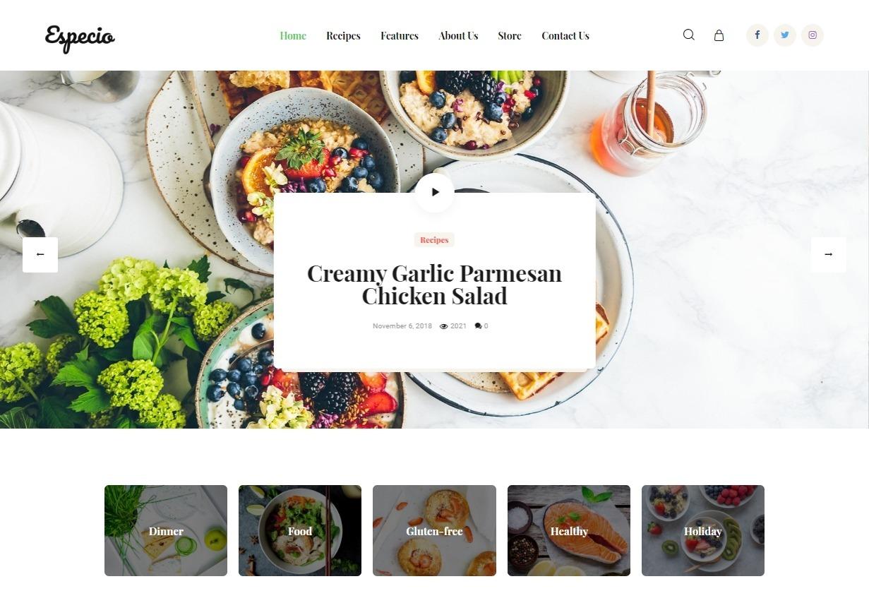 Especio Food Gutenberg Theme for Healthy Lifestyle Blogs