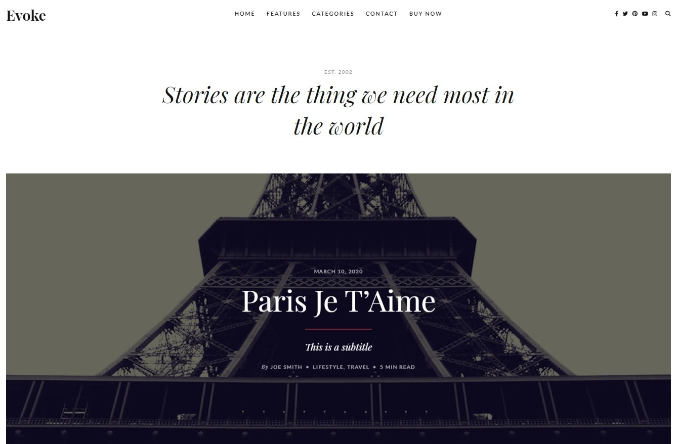 Evoke Simple Medium Style Theme with Beautiful Typography