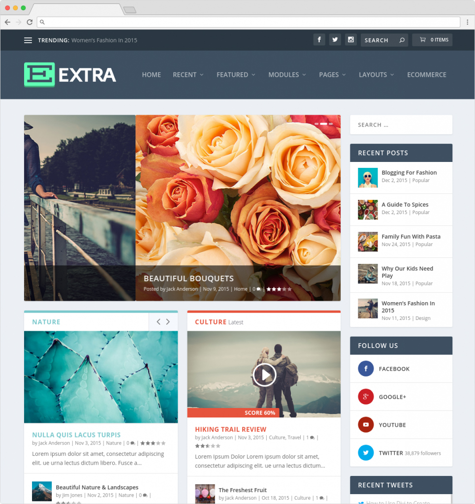 Extra WordPress Theme For Online Magazines