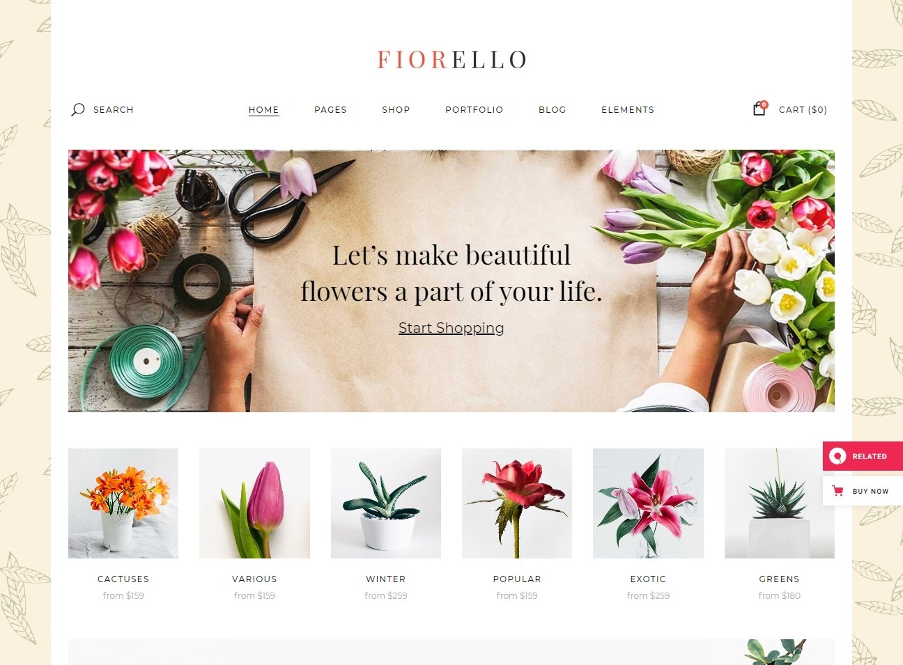 Fiorello Florist and Flower Shop Theme