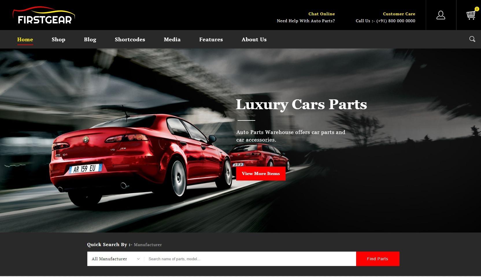 FirstGear WordPress Theme for Auto Parts Sales