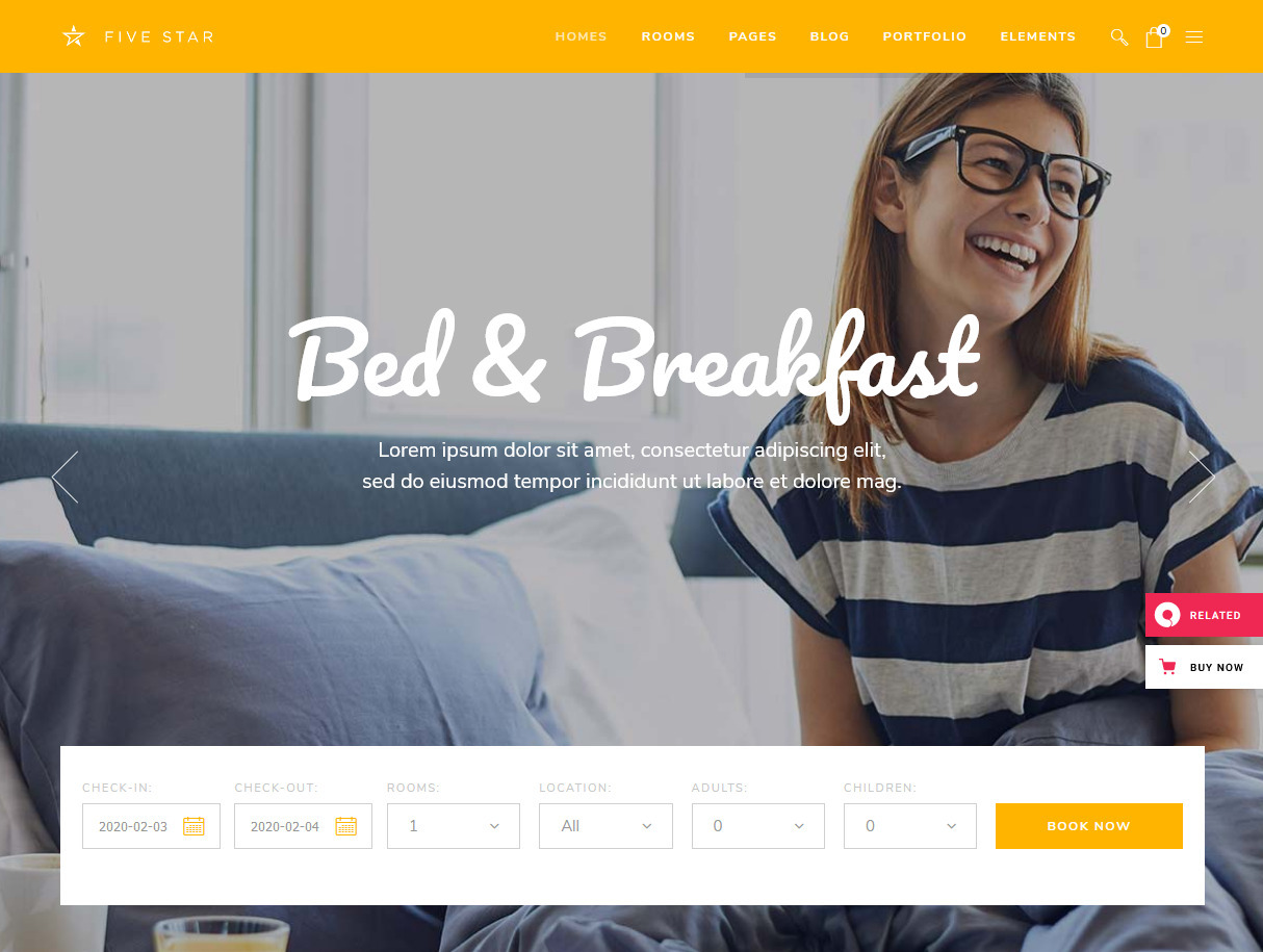 FiveStar Bed and Breakfast Booking WordPress Theme