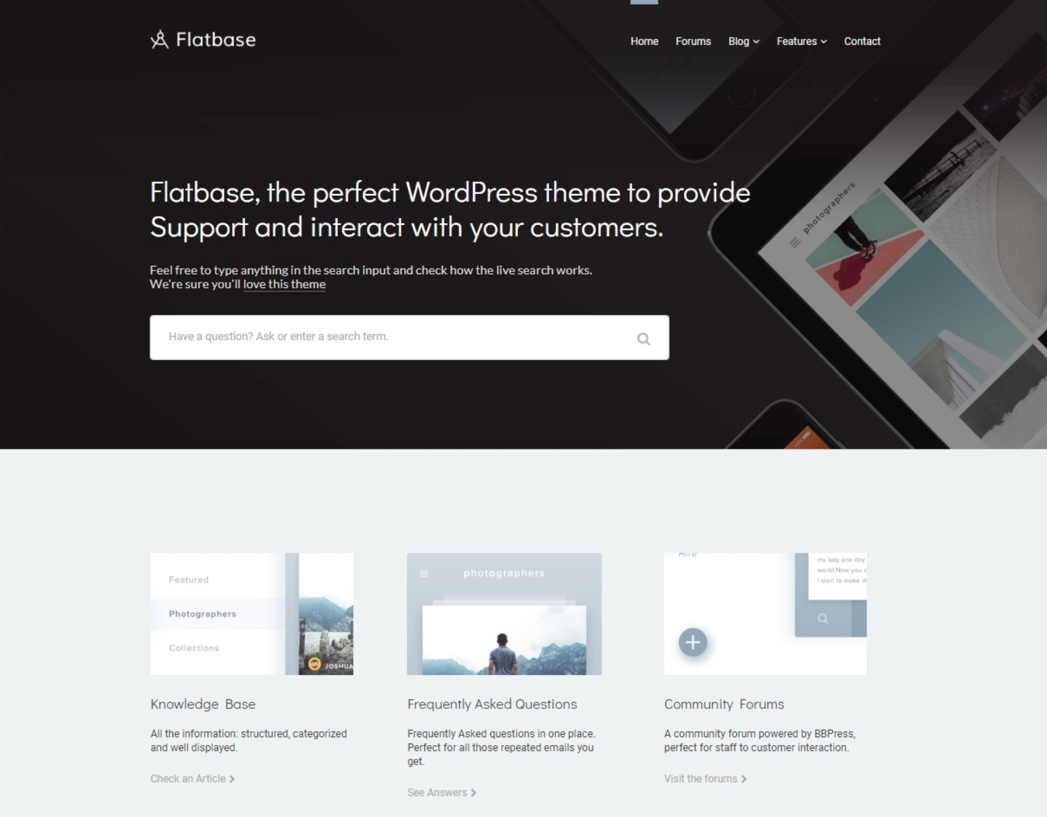 Flatbase WordPress Theme for Knowledge Base FAQ and Community Forums