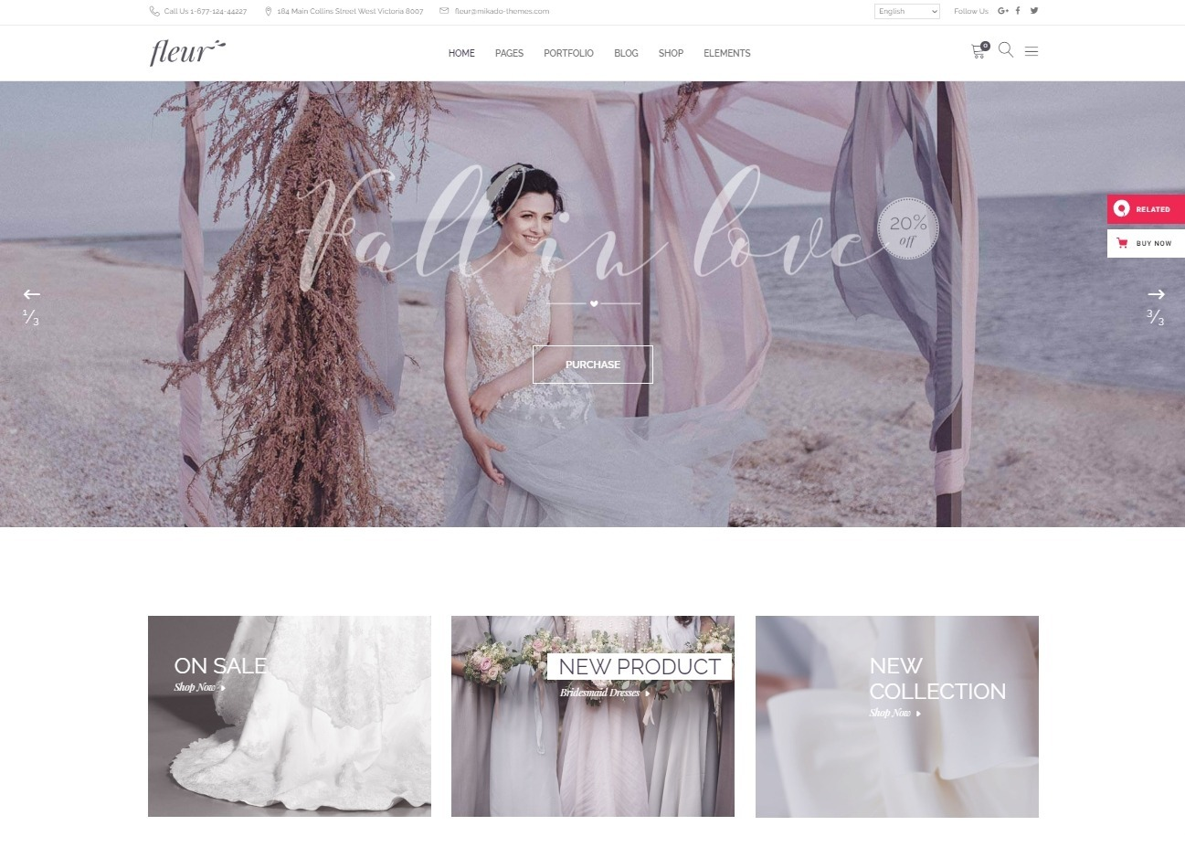 Fluer Bridal Store and Wedding Planning Theme