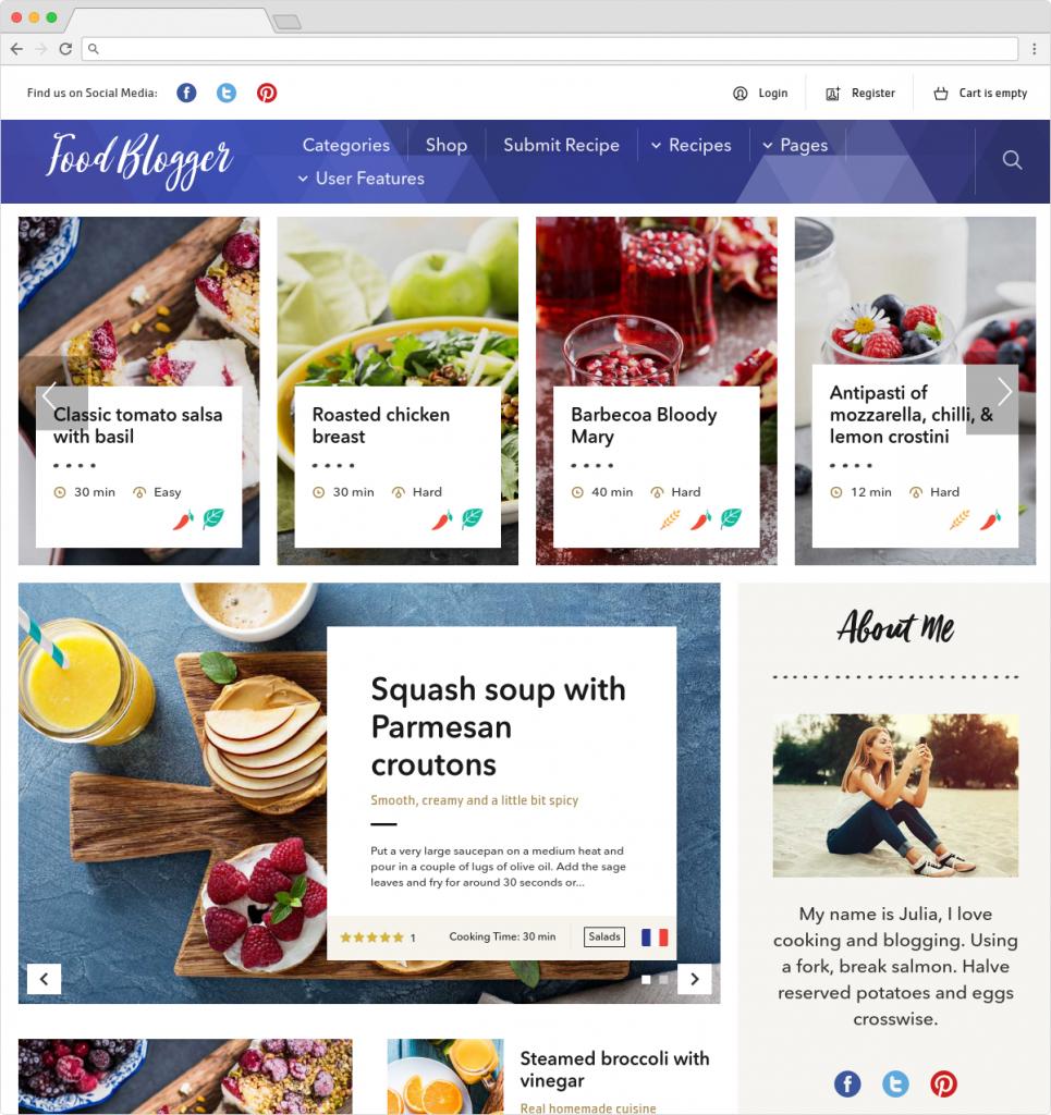 Food Blog WordPress Theme For Personal Food Recipe Blog