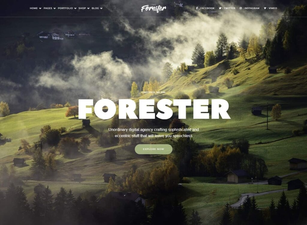 Forester Digital Agency Theme with Minimal Style