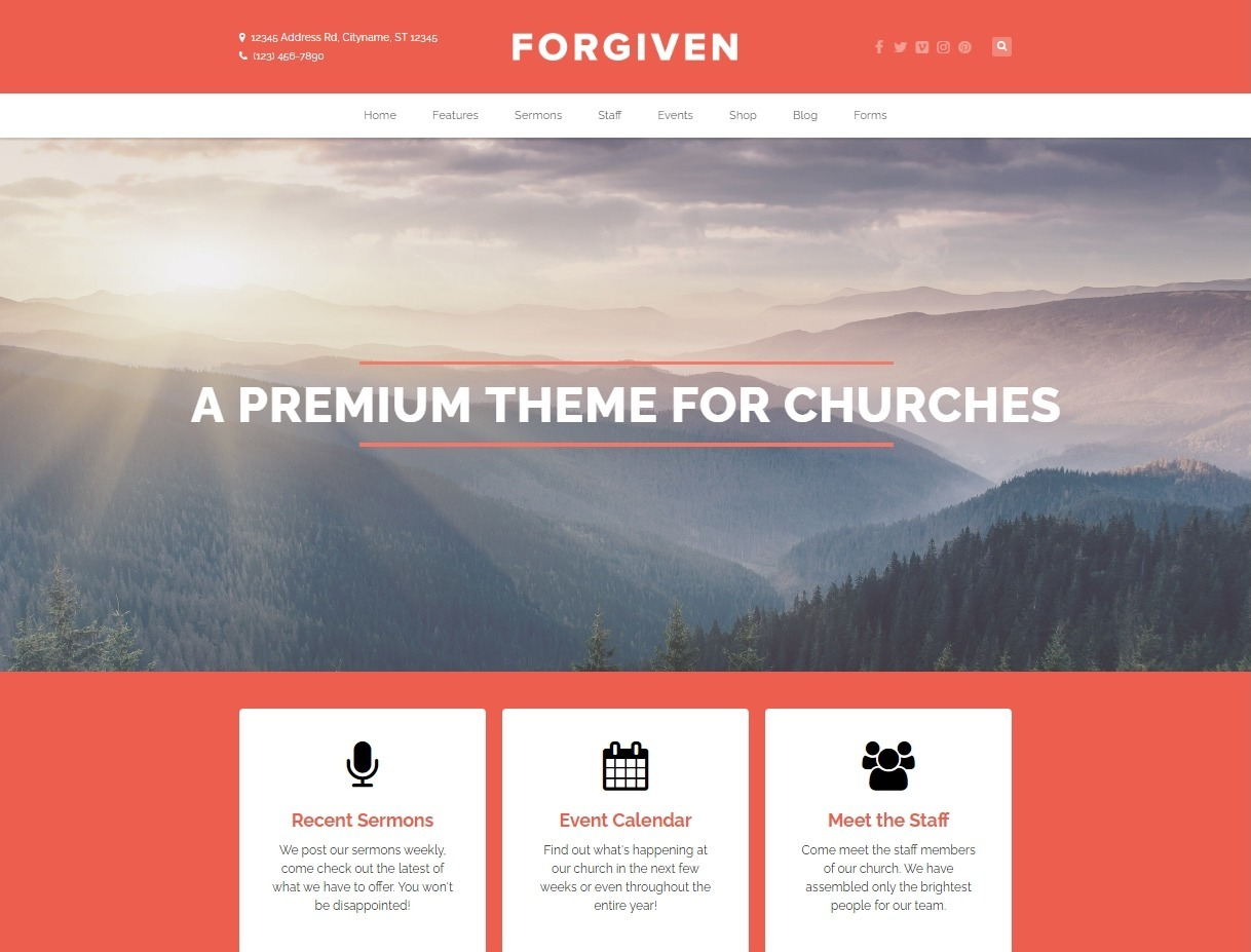 Forgiven Flat Professional Church Theme for WordPress