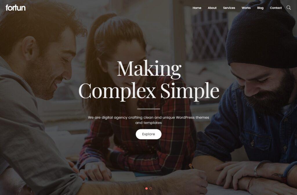 Fortun Full Screen Digital Agency WordPress Theme