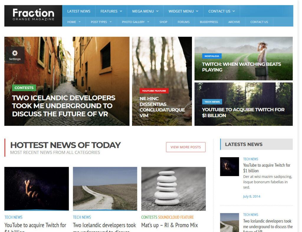 Fraction DIgital Publisher and Magazine WordPress Themes